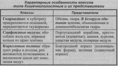 Характерные особенности классов типа Кишечнополостных и их представители